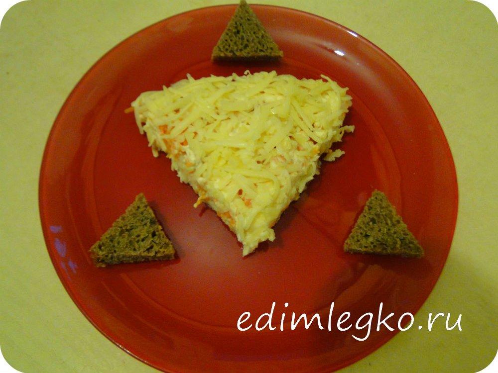Салат «Мимоза» с сыром и яблоком