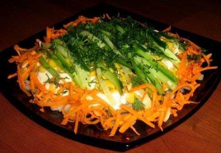 Салат с морковью по-корейски и шпротами