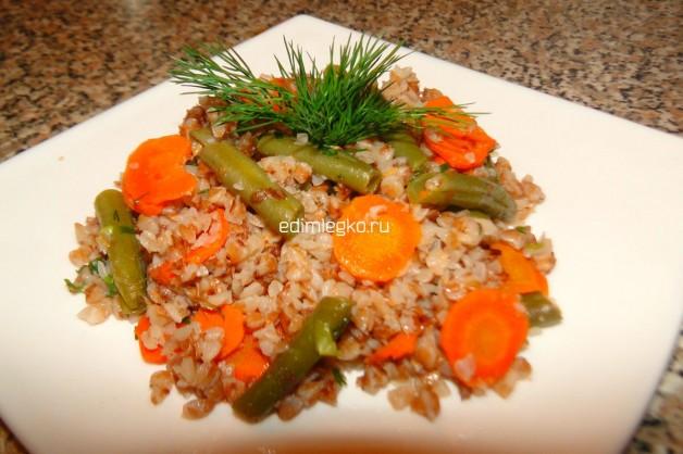 Постная гречка с овощами