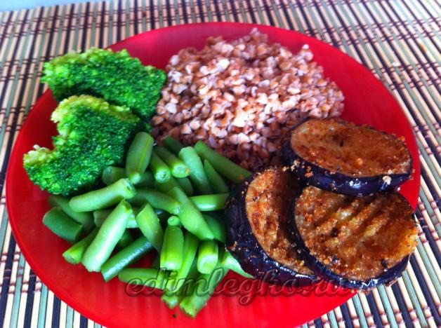 Вкусная гречка с баклажанами и брокколи